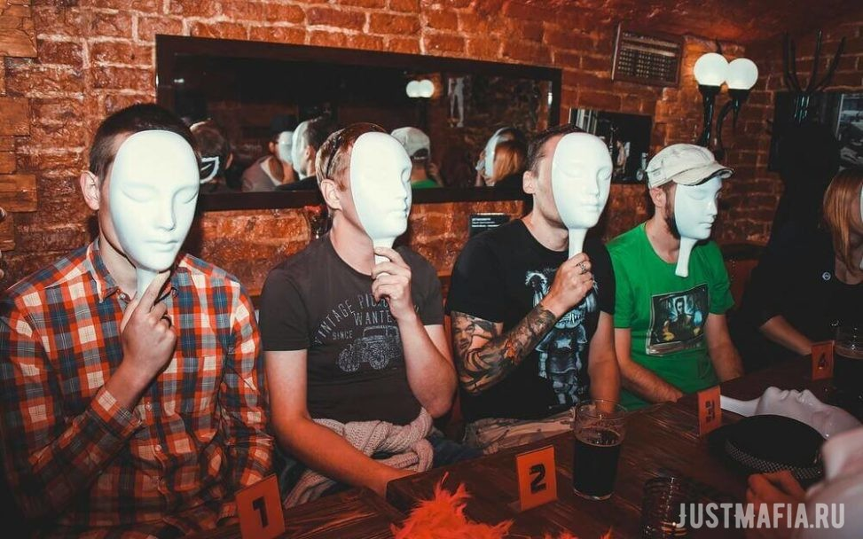Mafia players with their masks on