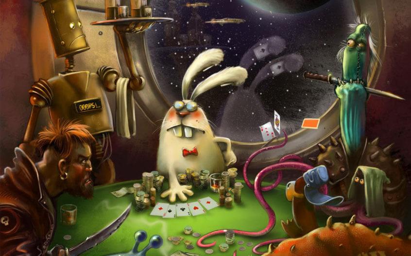 Рисованные персонажи играют в карты