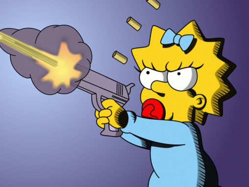 Мэгги Симпсон стреляет из пистолета