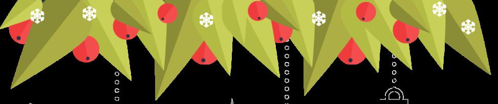 Зеленая веточка с мандаринами и снежинками