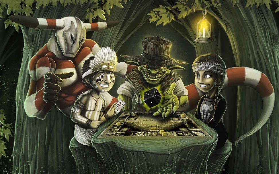 Мультяшные персонажи играют в настольную игру